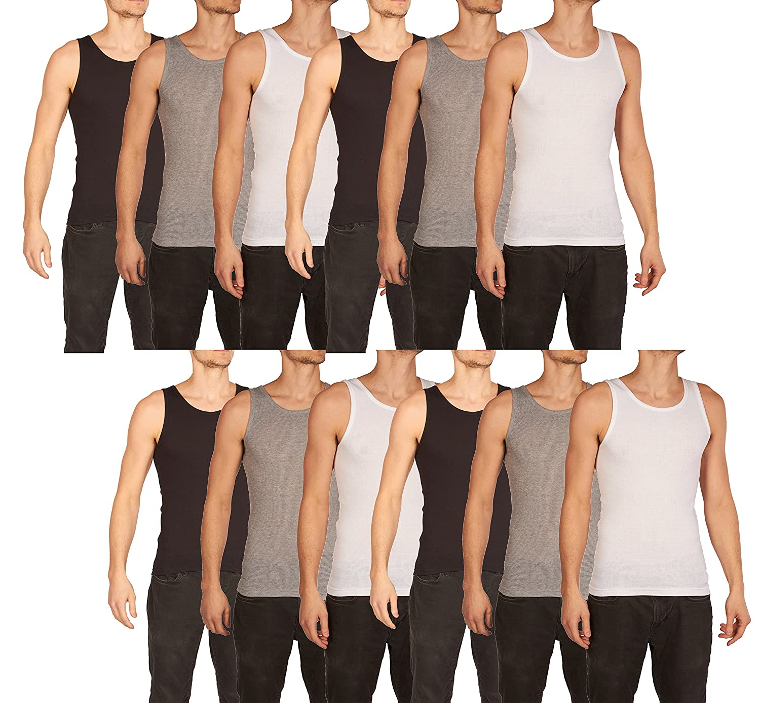 b58eea9e Each order includes 12 A-Shirt Undershirts for Men. 4 White, 4 Black, and 4  Heather Gray. QUALITY: These tanktops are made with high quality materials  and ...