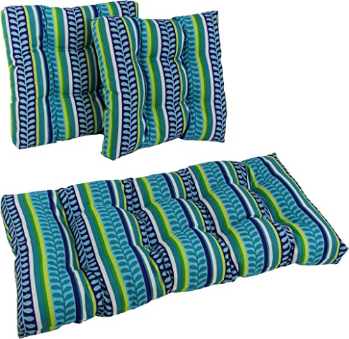 Blazing Needles Squared Patterned Spun Polyester Tufted Settee Cushions Set