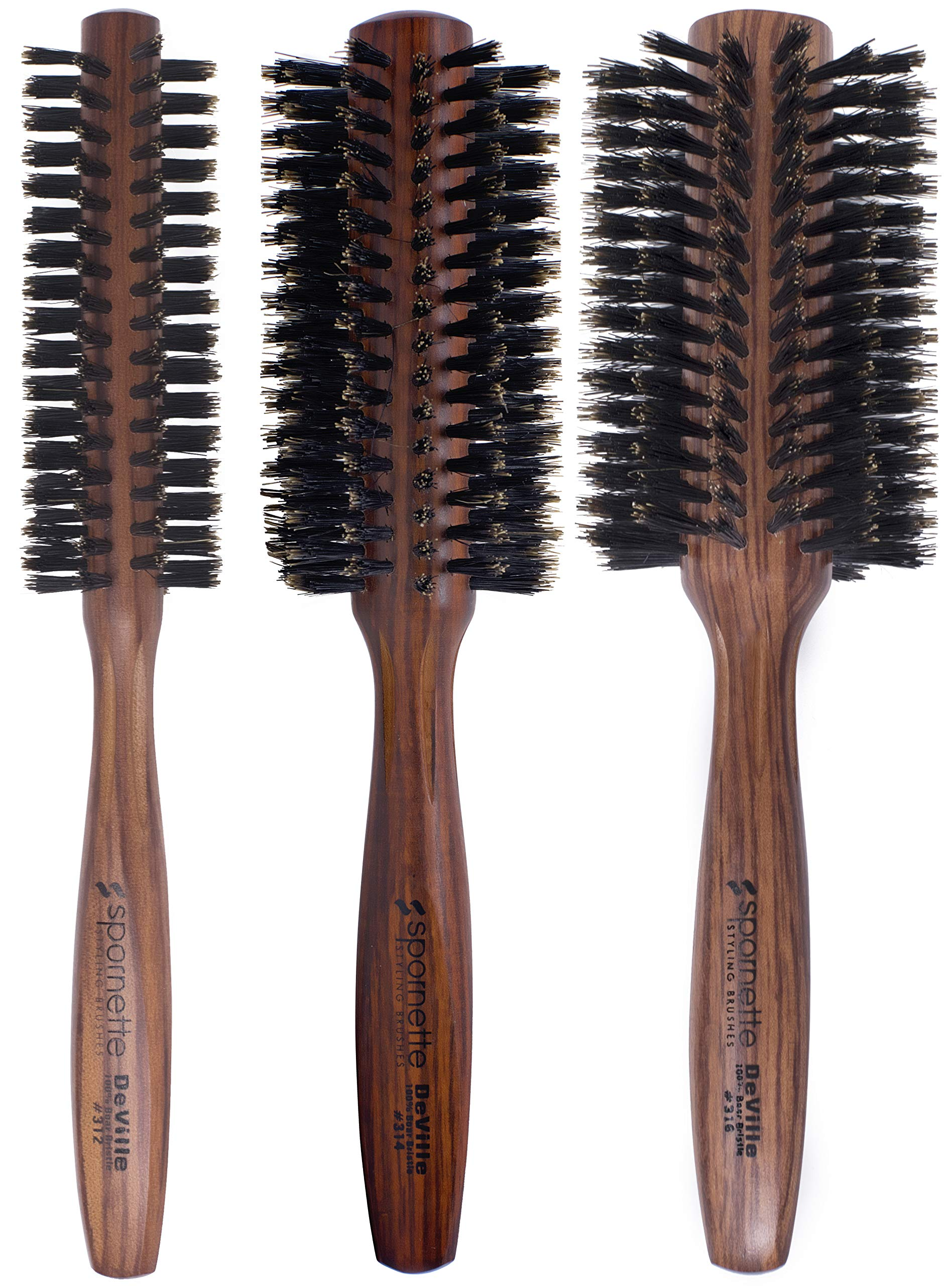 Spornette DeVille Boar Bristle Round Brush Set - Professional Round Hair Brushes Includes 1.5 inch Round Brush #312, 2 inch Round Brush #314, 2.5 inch Round Brush #316 - For Women, Men, Kids