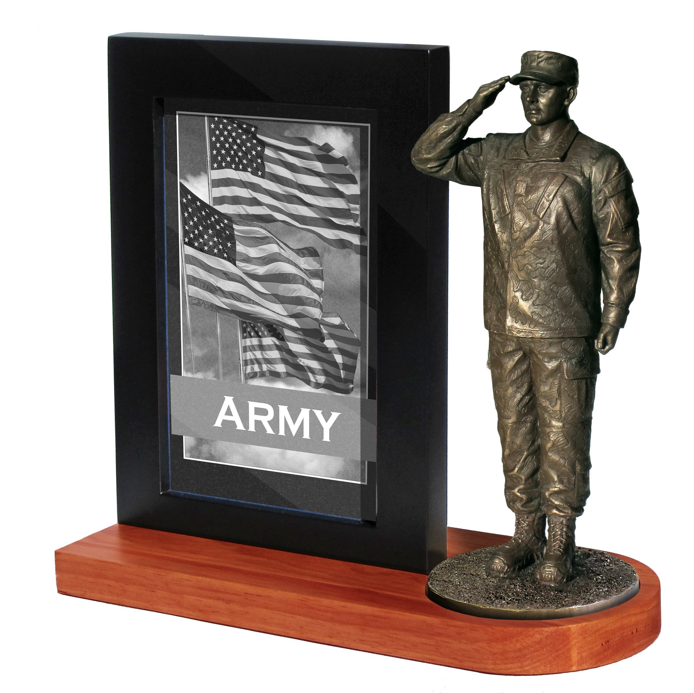 Khaki Army MD103W US Army Soldier in Army Combat Uniform Saluting on Wood Base with 4x6 Photo Frame by KHAKI ARMY USA