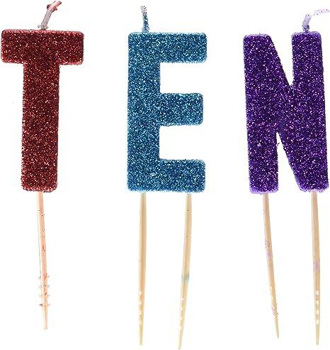 Amazon.com: Glittered – Pick Vela Set de cumpleaños Diez ...