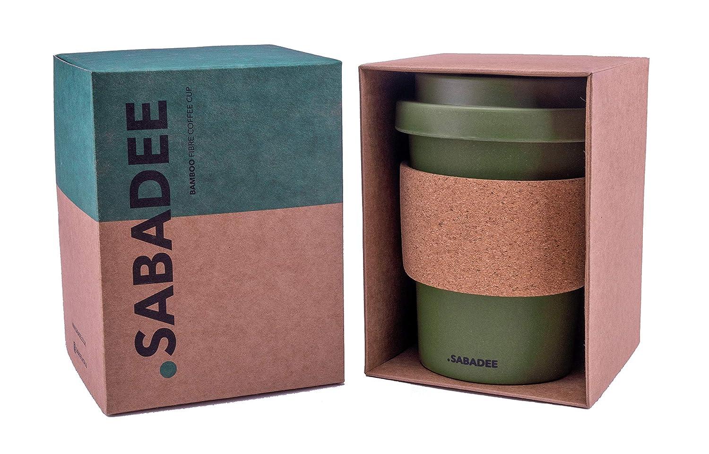 Sabadee Tazza da caff/è Riutilizzabile in Fibra di bamb/ù Sughero 340 ml Verde