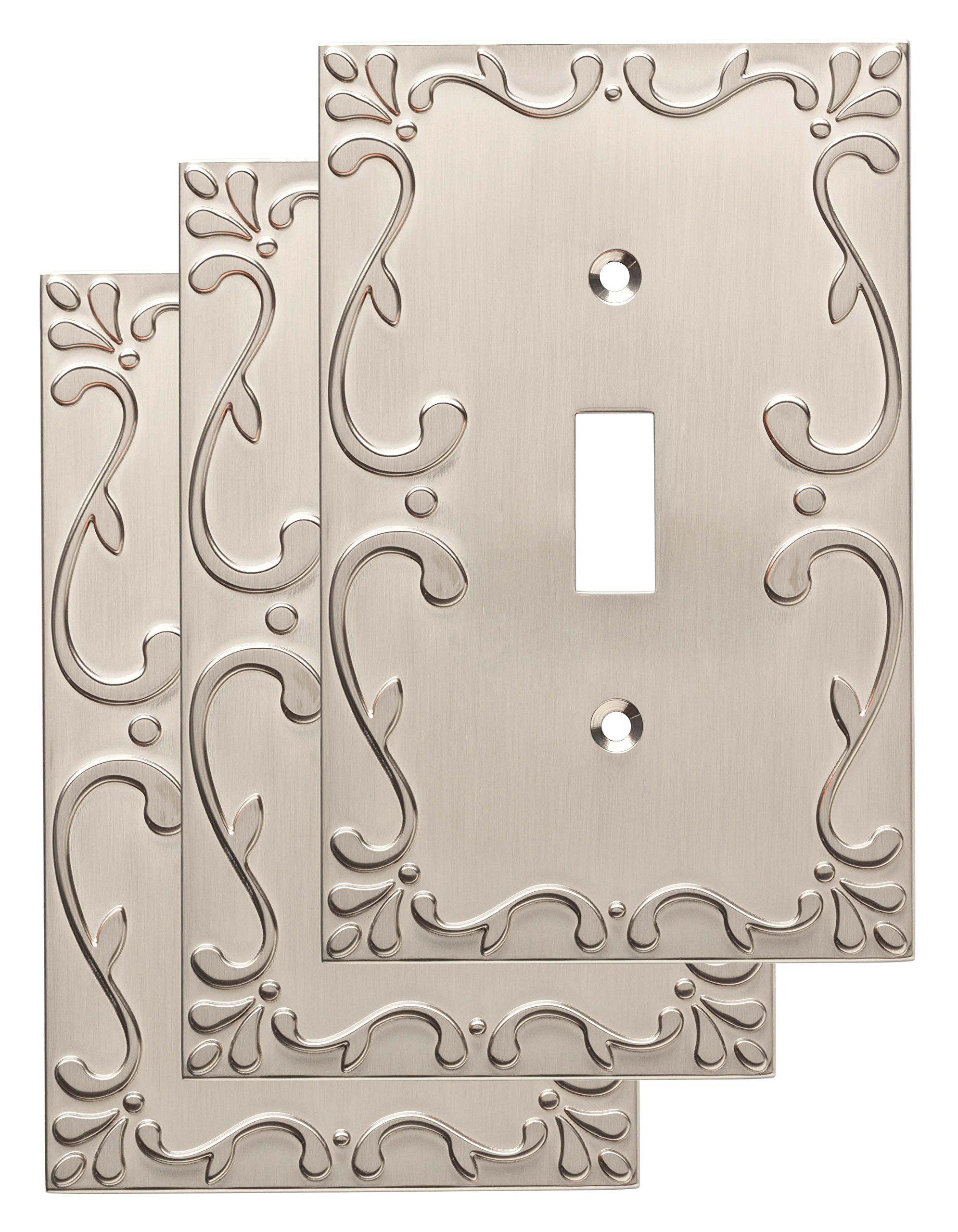 Franklin Brass W35070V-SN-C Classic Lace Single Switch Wall Plate/Switch Plate/Cover (3 Pack), Satin Nickel