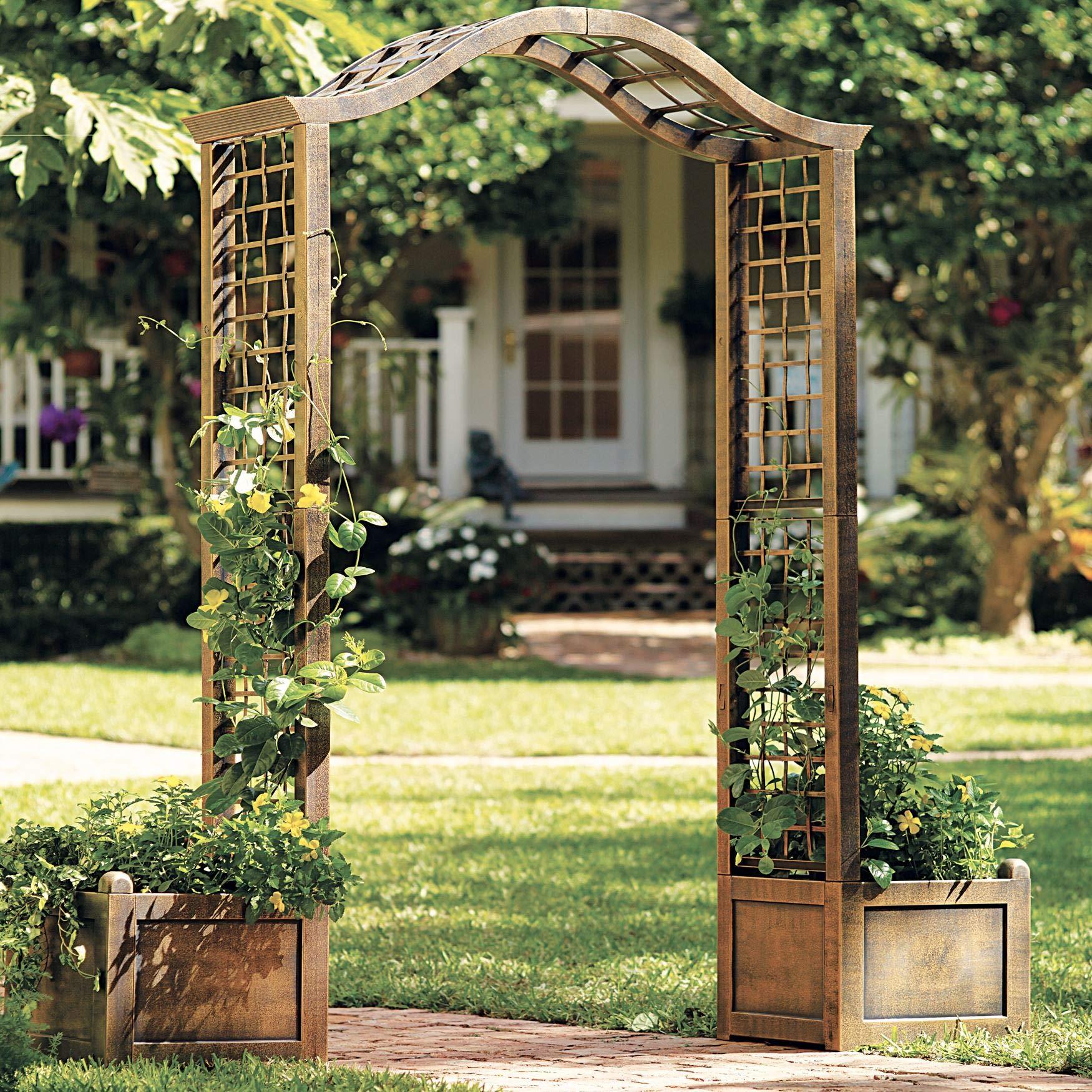 BrylaneHome Resin Garden Arch Trellis - Bronze