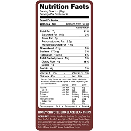 Amazon.com: Beanitos Black Bean Honey Chipotle BBQ, The Healthy, High Protein, Gluten free, and Low Carb Vegan Tortilla Chip Snack, 6 Ounce A Lean Bean ...