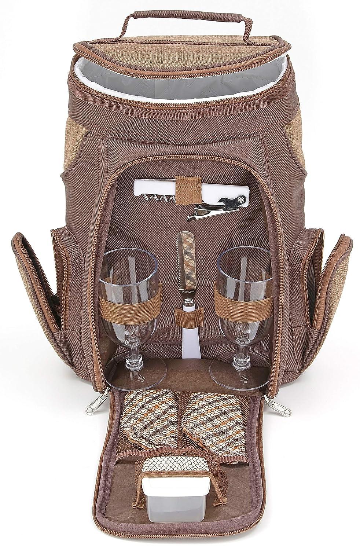 Brubaker Bolsa de Vino o champ/án con Copas y Set de Picnic para 2 Personas marr/ón 20/×17/×36 cm