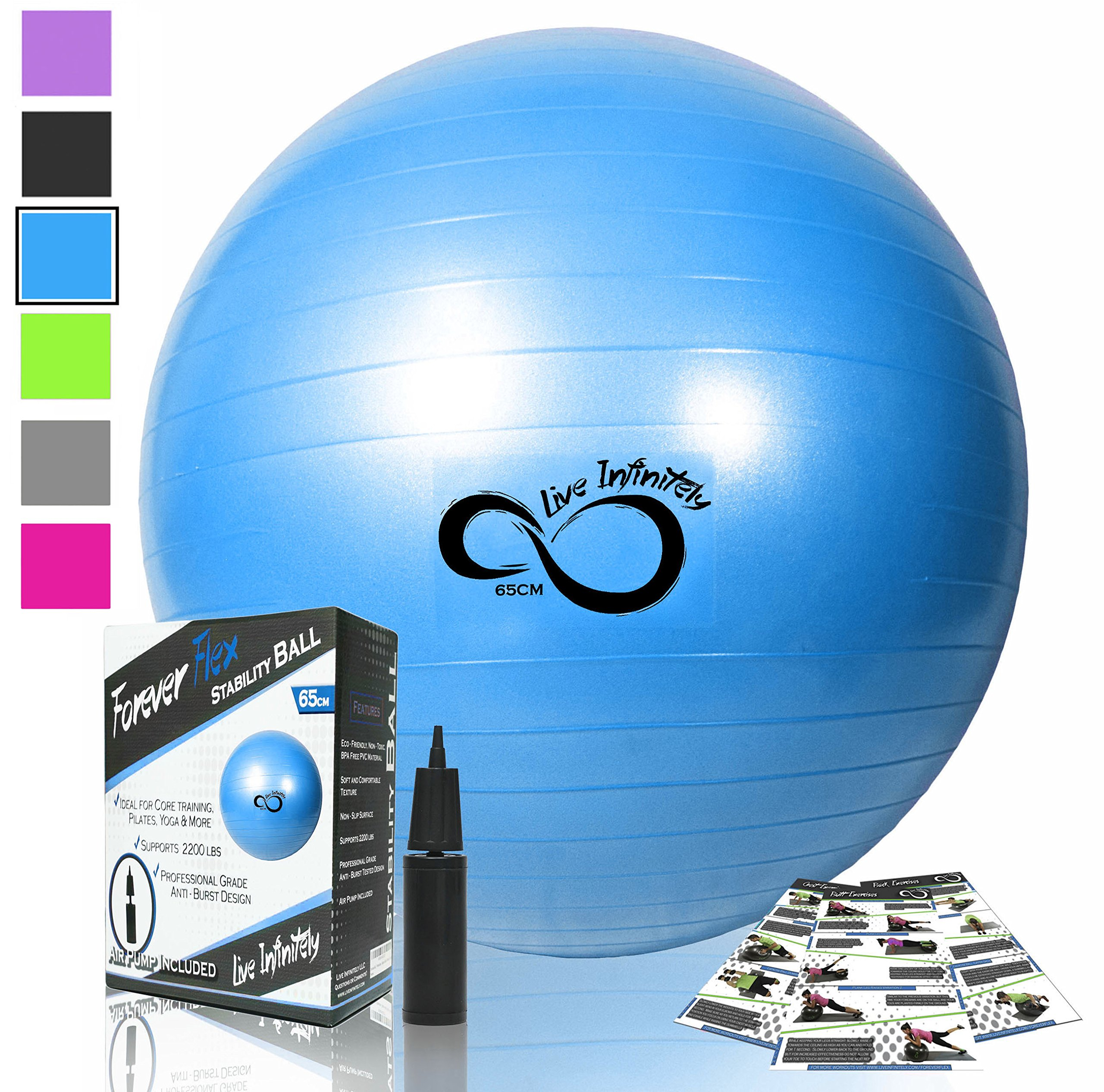 Live Infinitely Exercise Ball (55cm-95cm) Extra Thick Professional Grade Balance & Stability Ball- Anti Burst Tested Supports 2200lbs- Includes Hand Pump & Workout Guide Access Blue 85cm