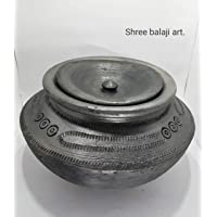 Shree Balaji art. Rajasthan Handmade and Earthen 3 L Haandi Clay Pot for Cooking (Black, 27x17.5 cm)
