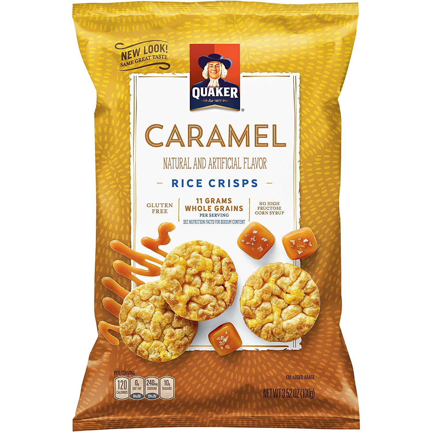 Quaker Rice Cake Caramel Corn, 3.52 oz Bag