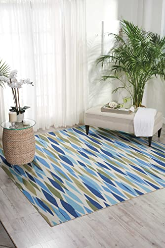 Waverly Sun Shade Bits Pieces Contemporary Retro Shade Bits Pieces Seaglass Indoor/Outdoor Area Rug