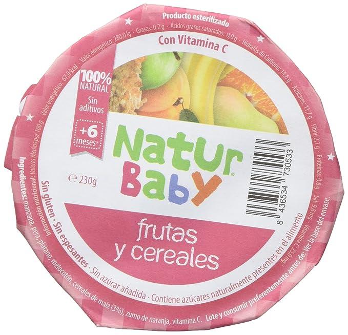 Natur Baby Puré Natural de Frutas y Cereales para Bebé - Paquete de 12 x 230