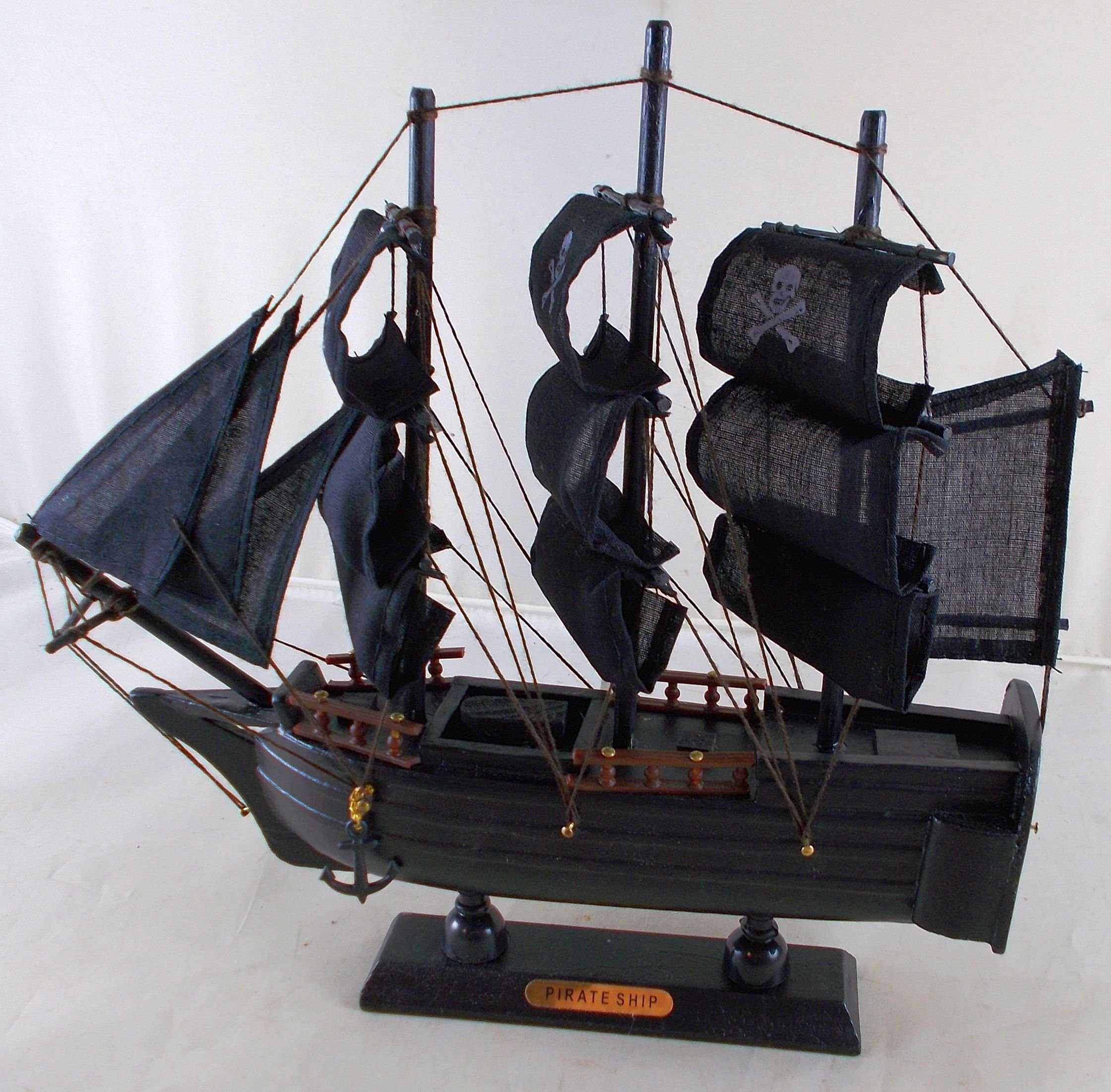 Pirate Ship Wooden Boat Model with Cloth Sails - Fully Assembled