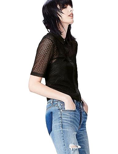 FIND Camisa de Encaje Estilo Vintage para Mujer