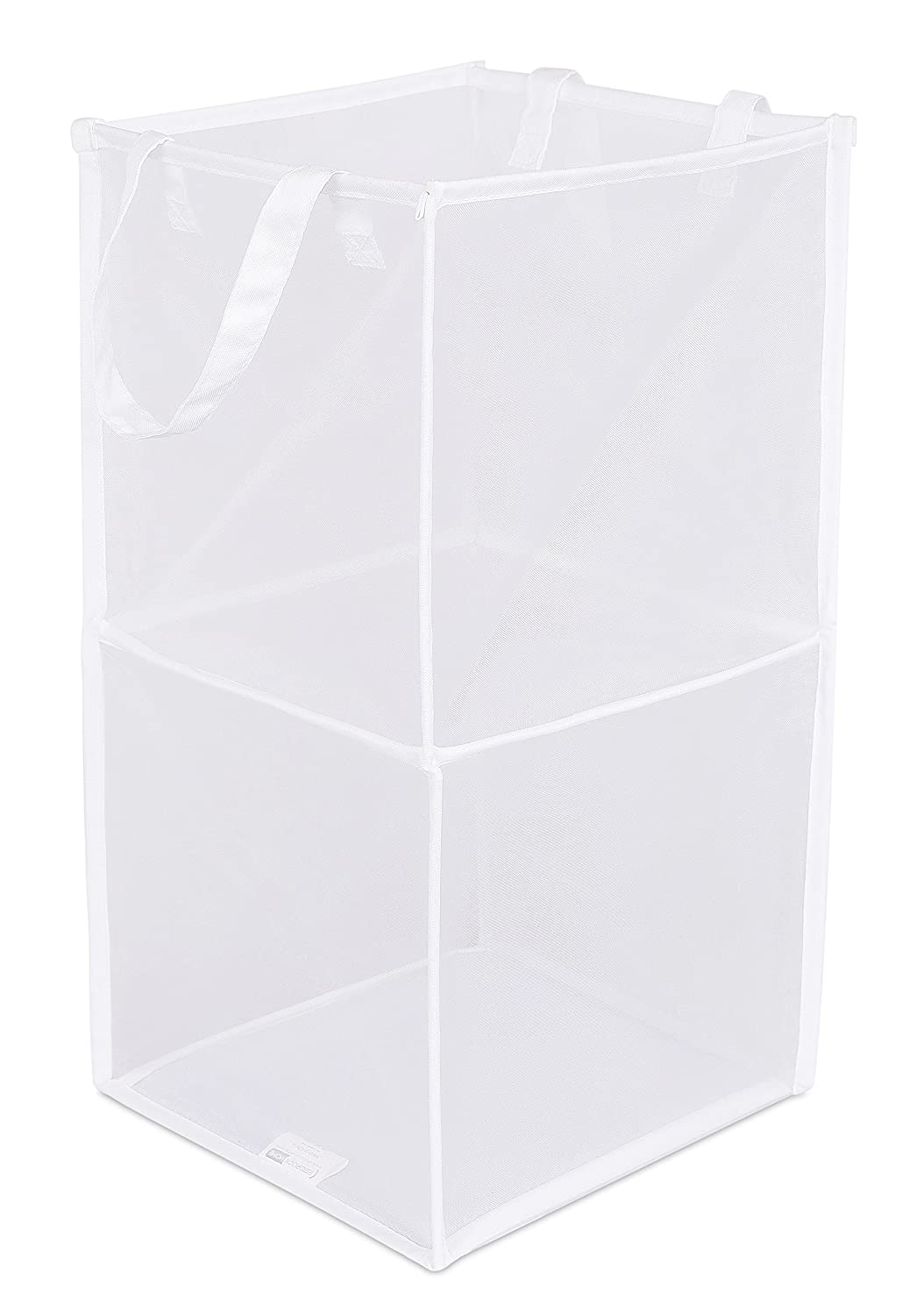 BIRDROCK HOME Pop-Up Magic Hamper - Collapsible Mesh Laundry Hamper - Square - Carry Handles - Dirty Laundry Sorter Mesh Basket - White
