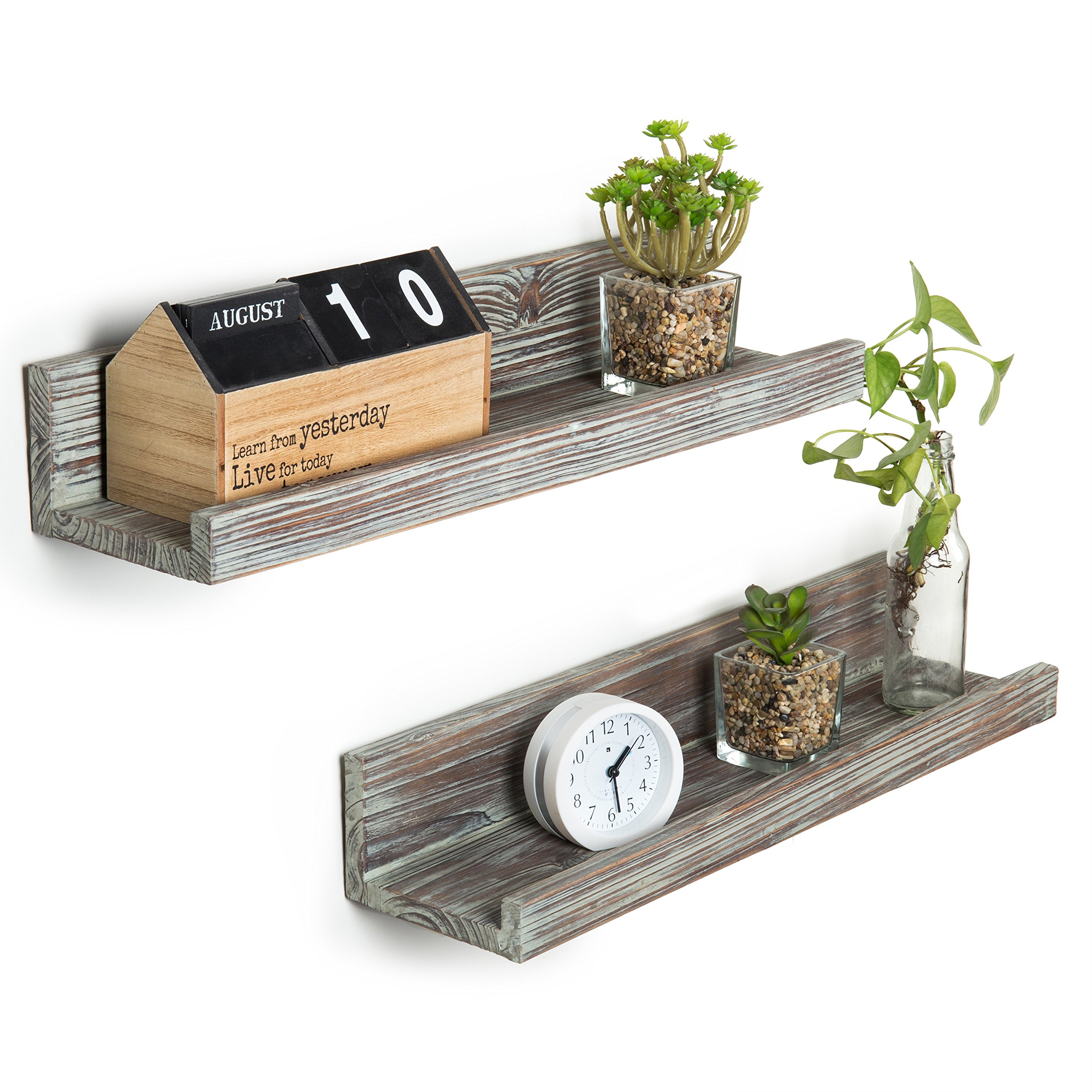 MyGift Rustic Torched Wood Floating Display Shelves, Picture Ledge Shelf Set of 2