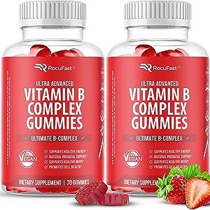 Vitamin B Gummies (2-Pack, 140 Gummies) - Potent Vitamin B Complex with Vitamin B12, Vitamin B6, Vitamin C, Niacin, Folate, and Biotin - B Complex Vitamins Energy Supplement