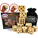 "Matty's Toy Stop Deluxe 10pcs Wooden Lawn Dice Set - Features 5 (2.75"") and 5 (2"") Large Wooden Dice with Storage Bag"