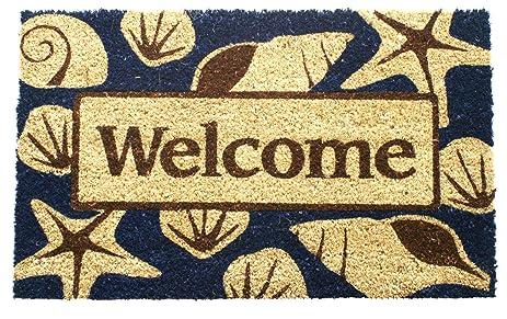 Entryways Beach Welcome Non  Slip Coconut Fiber Doormat 17u0026quot; ...