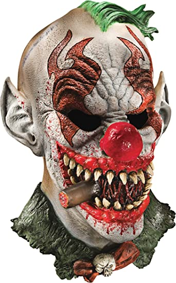 Foam Latex One Size Scary Clown Mask With Hair Adult Costume Accessory