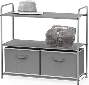 Simple Houseware 3-Tier Closet Storage with 2 Drawers, Grey