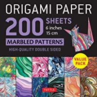 """Origami Paper 200 sheets Marbled Patterns 6"""" (15 cm): Tuttle Origami Paper: High-Quality Double Sided Origami Sheets…"""