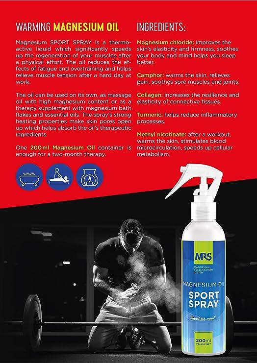 MRS Aceite de Magnesio en Spray con Colágeno, Relaja y Recupera Músculos Fatigados y Combate Calambres Musculares, Spray Deporte, 200 ml: Amazon.es: Belleza