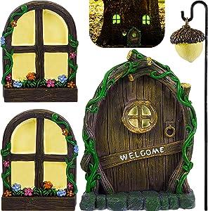 Fairy Door and Windows Trees Garden Outdoor Accessories Fairy Door Glow in Dark Yard Decor Miniature Fairy Tale Garden Home Door and Window Accessories Can Sparkle at Night Outdoor Decoration