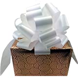 "Large White Ribbon Pull Bows - 9"" Wide, Set of 6, Wedding Decorations, Christmas Gift Ribbons"