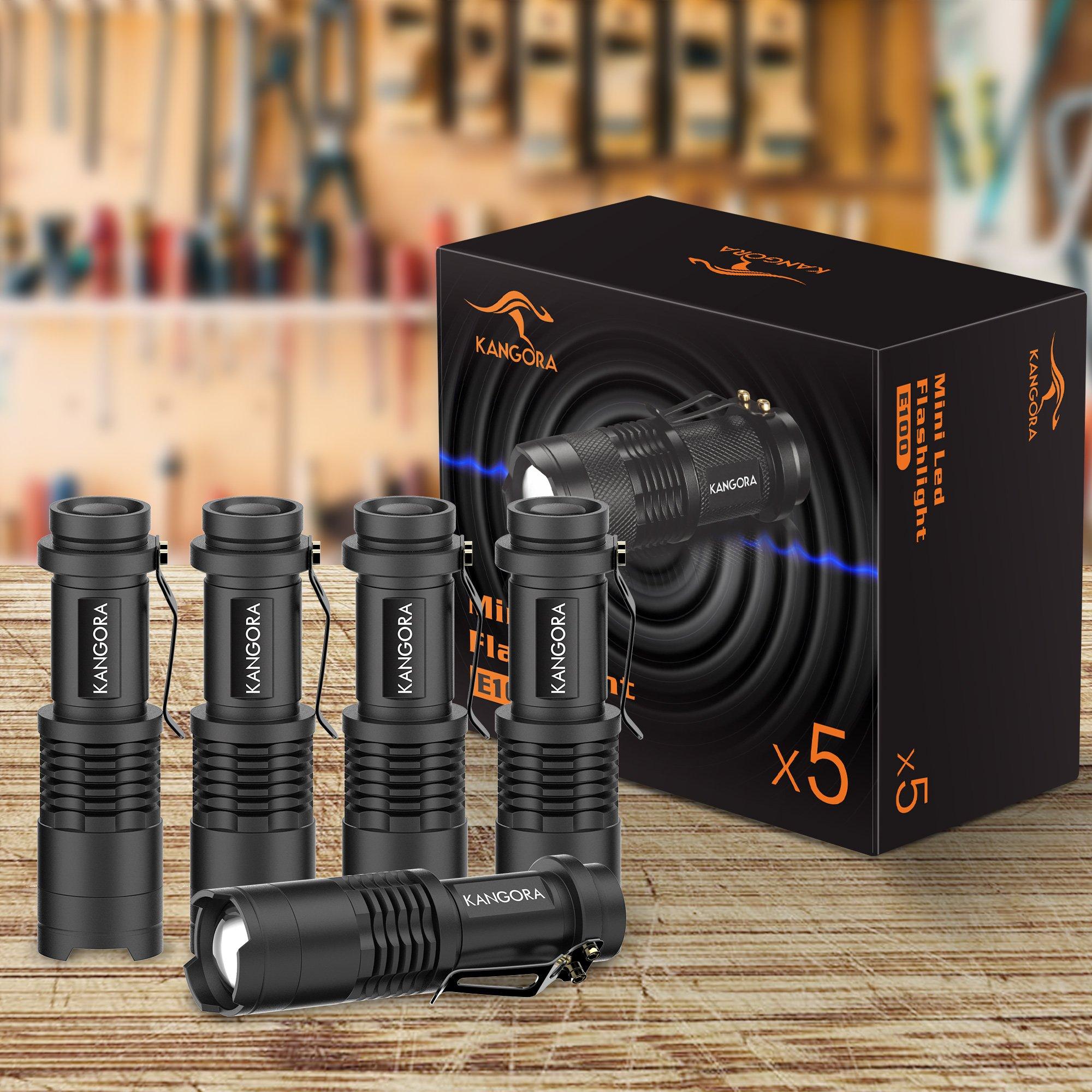 KANGORA Pack of 5, 300 Lumens LED Tactical Mini Handheld Flashlights 3 Light Modes by KANGORA (Image #3)