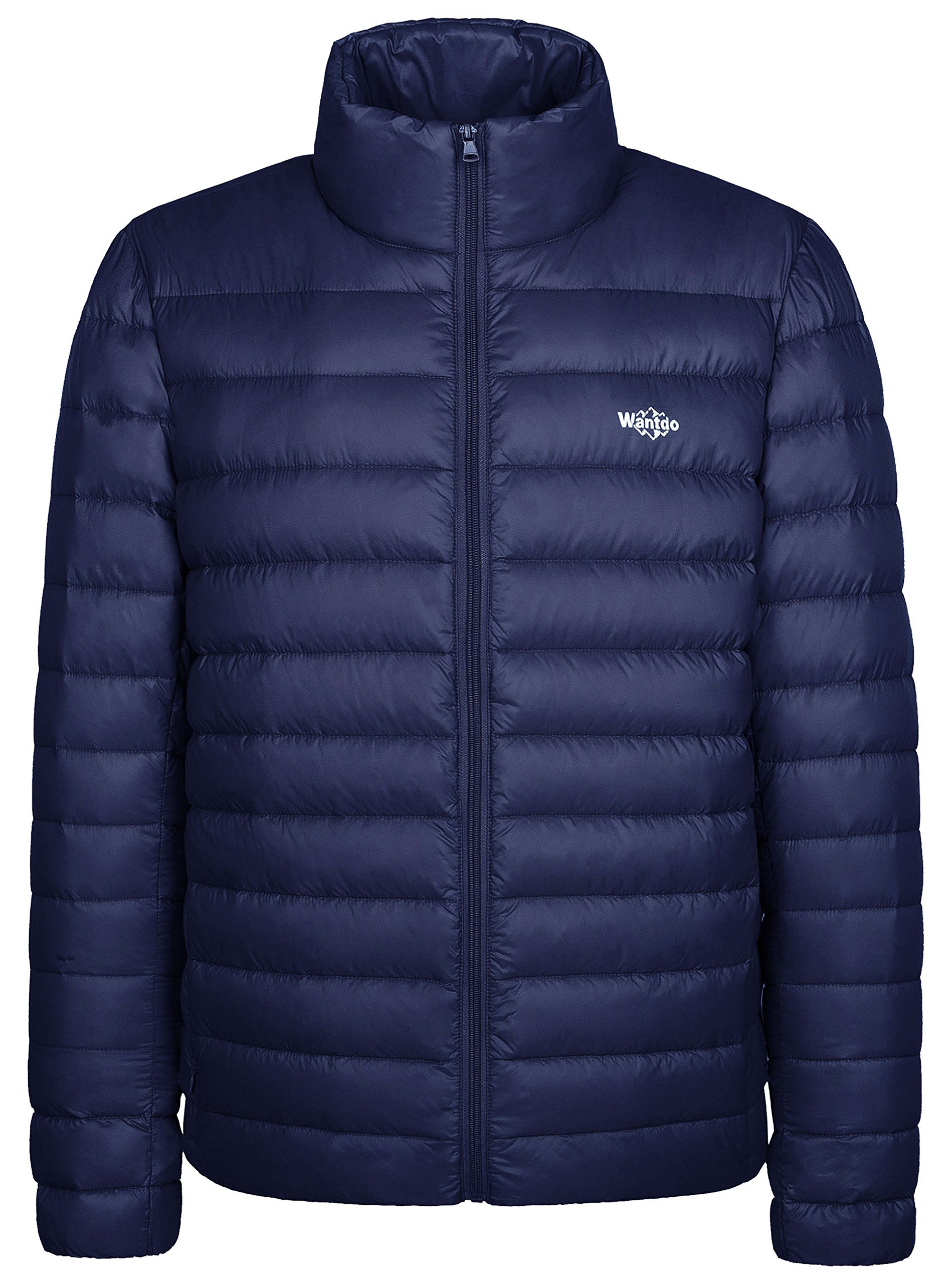 Wantdo Men's Packable Stand Collar Light Weight Down Jacket X-Large Navy