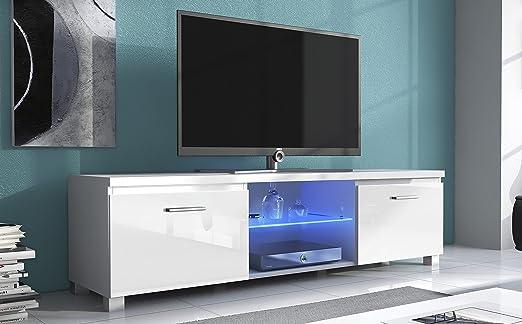 SelectionHome - Módulo salón Comedor para TV con Luces LED, Color Blanco Mate y Blanco Brillo Lacado, Medidas: 150x 40 x 42 cm de Fondo: Amazon.es: Hogar