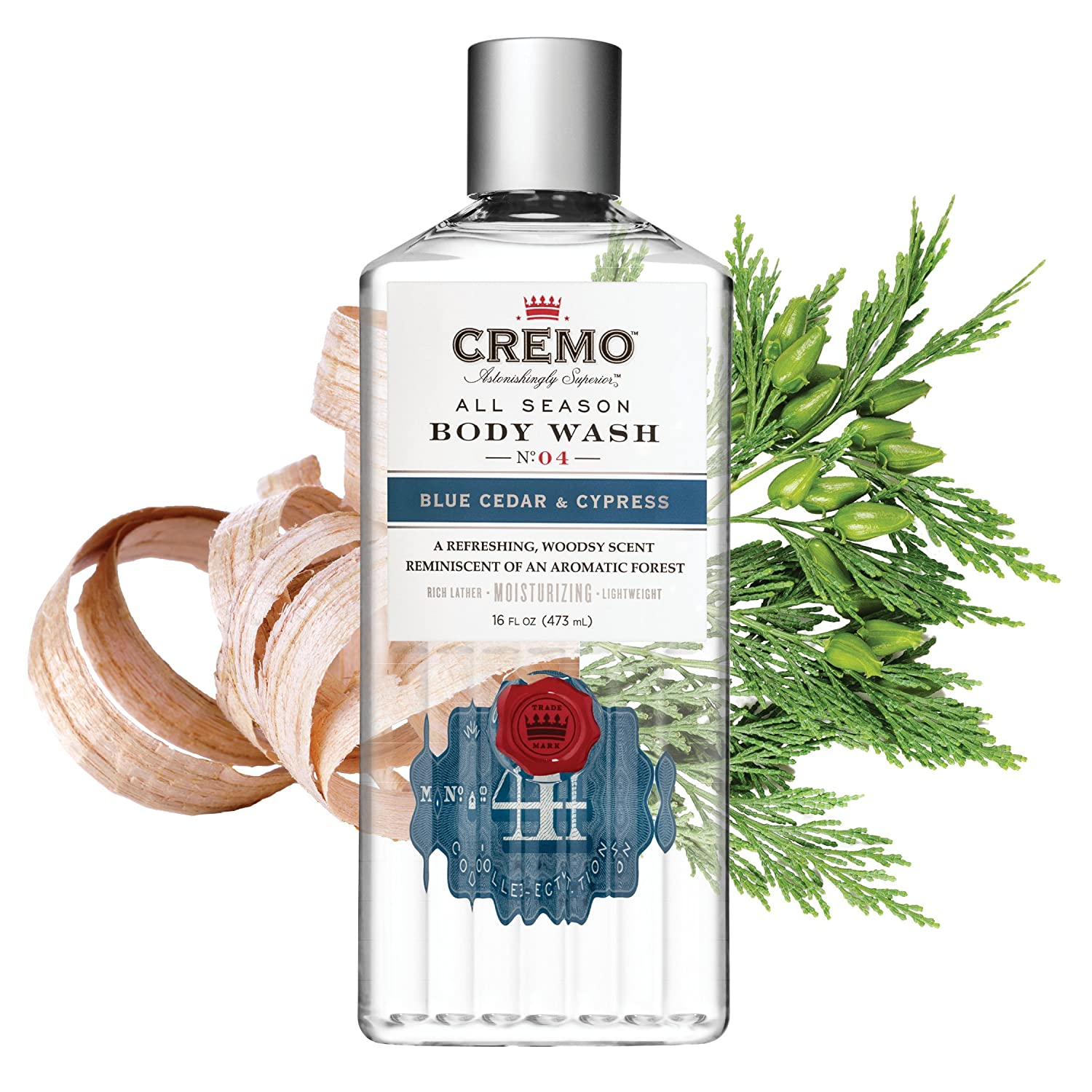 Cremo All Season Body Wash, Blue Cedar Cypress, 16 Ounce, 2-pack – Rich, Powerful Fragrance of Refreshing Blue Cedar Wood, Aromatic Cypress and a Citrus Zest