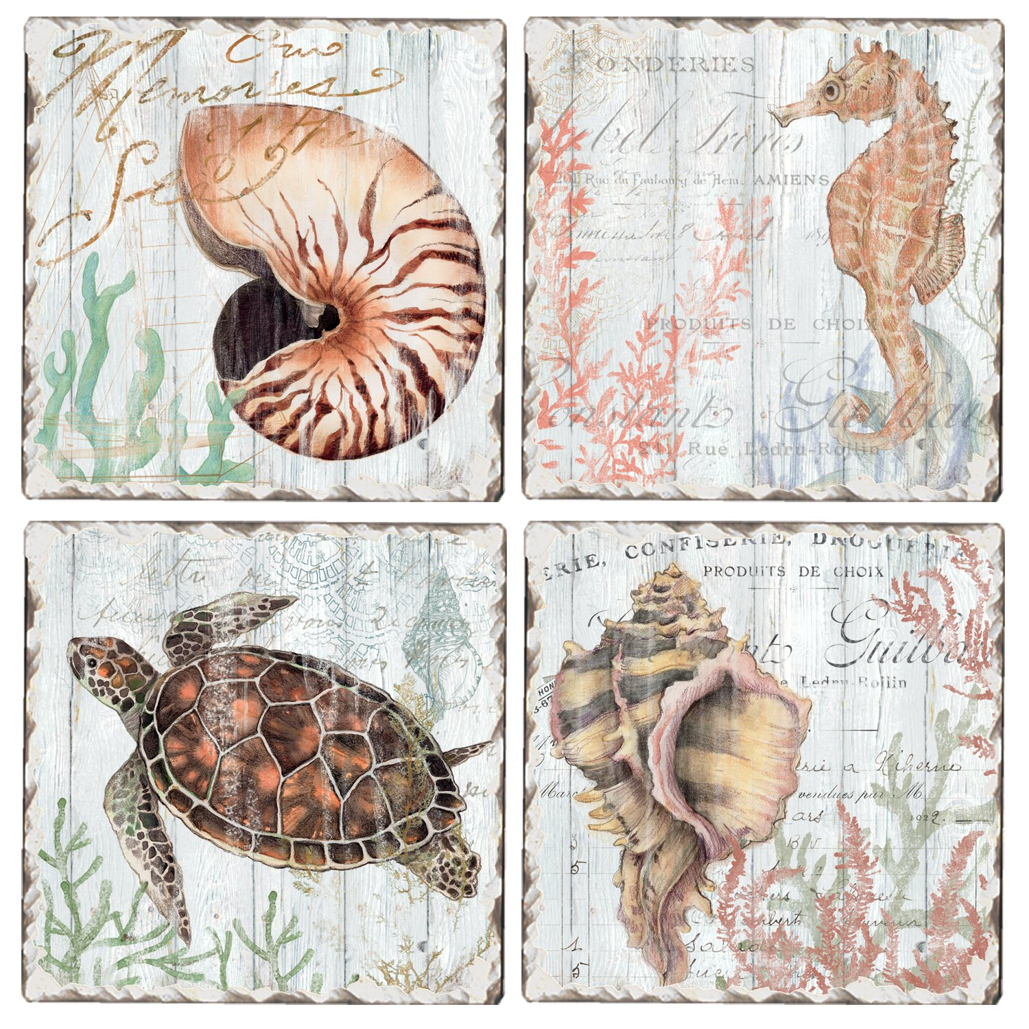CounterArt Set of 4 Assorted Tumbledタイルコースター、Turtles and Sealife   B078H3NJ2Y