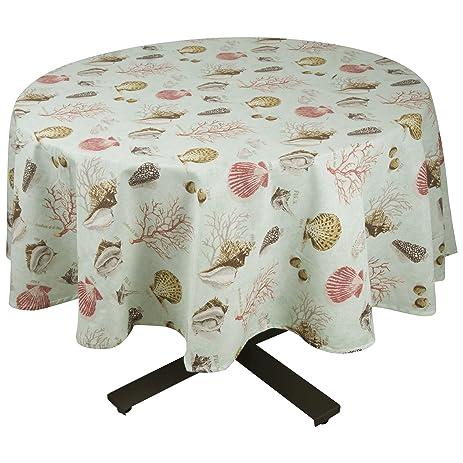 Beau Raymond Waites Premium Quality Table Cloth   Table Linen (Aqua/sealife)    Round