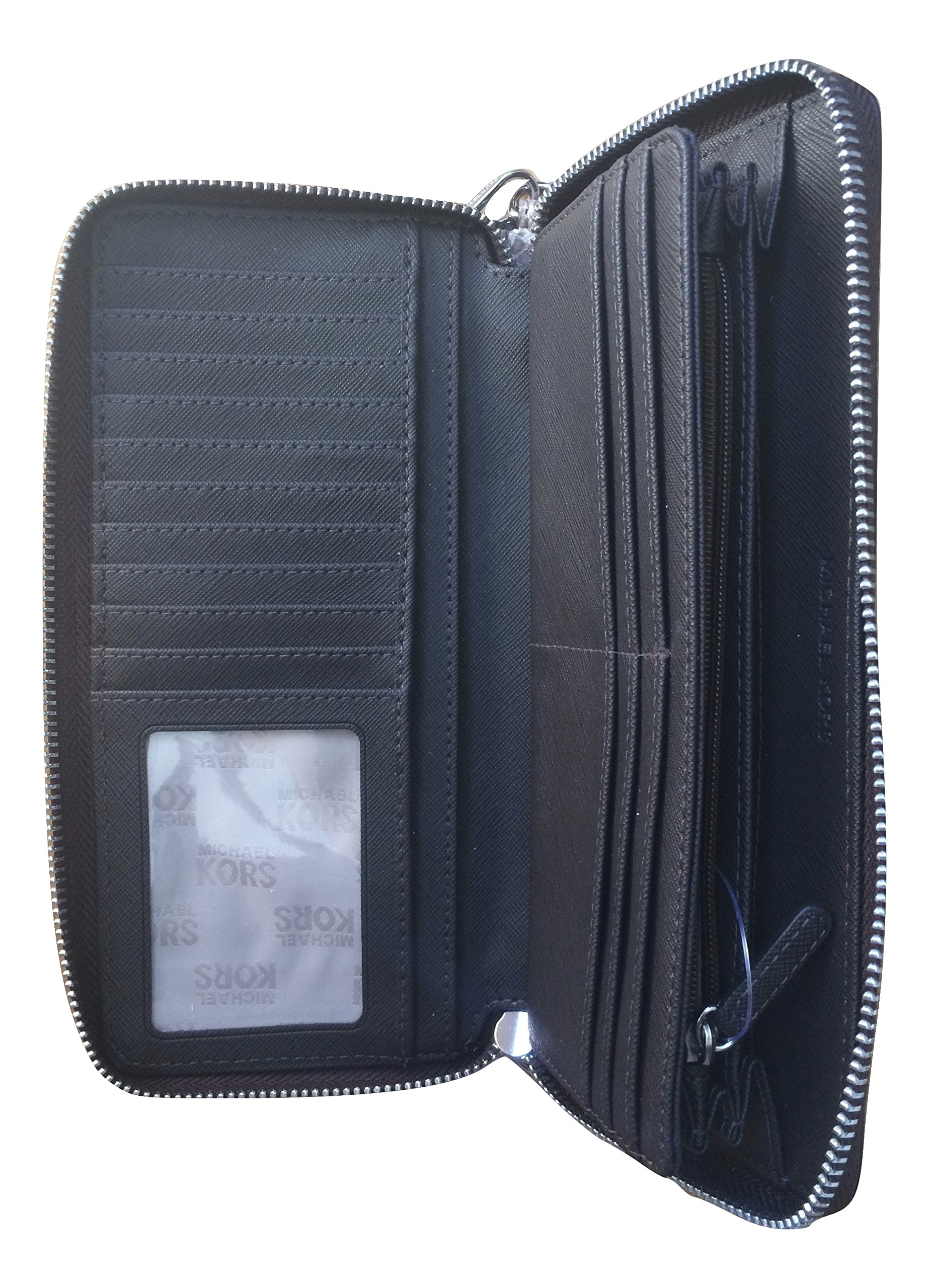 Michael Kors Leather Jet Set Travel Embossed Leather Continental Zip Around Wallet Wristlet (Dark Sand) by Michael Kors (Image #3)