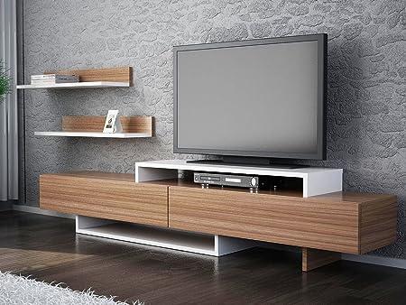 LaModaHome - Unidad de soporte para TV – Madera marrón blanco útil moderno y elegante soporte de almacenamiento