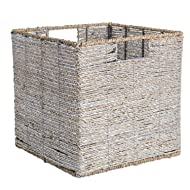 "DII Decorative Woven Seagrass Cube with Metallic for Bathroom & Home Organization Solutions to Enhance Décor & Add Functionality (Medium Cube - 11x11x11"") Silver"