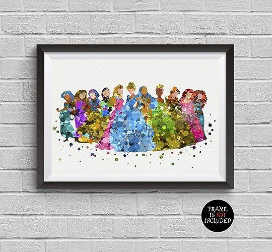 Amazon Disney Princess Watercolor Print Belle Cinderella Snow