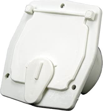 JR Products S-27-10-A White 30 Amp Square Electric Cable Hatch