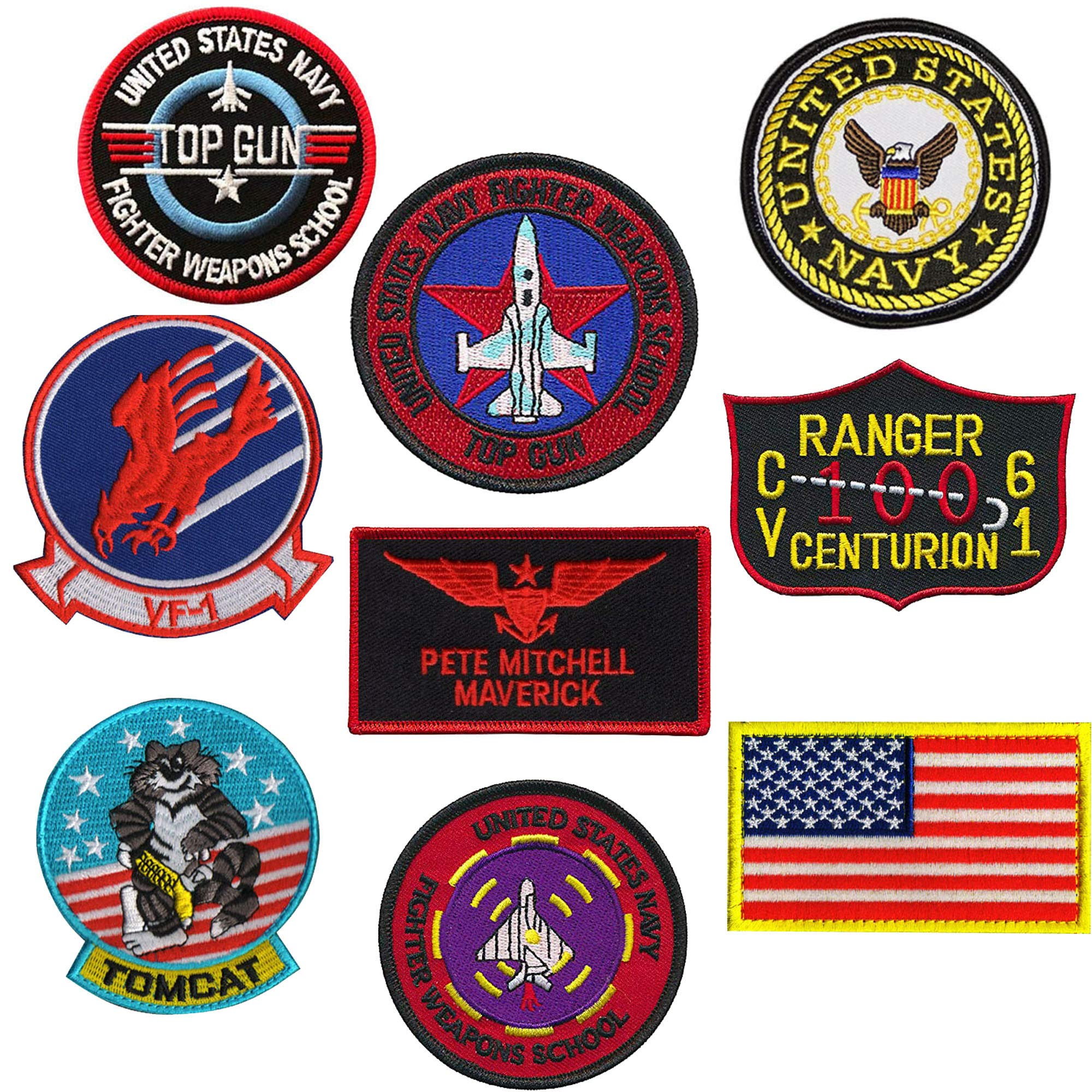 Top Gun Patch Set United Sates Navy Fighter Weapons School, American Flag, CV-61 USS Ranger 100 Centurion, Tom Cat, Pete Mitchell Maverick, VF-1 Embroidered Morale Patch Hook Loop Backing 9PCS by ODSP