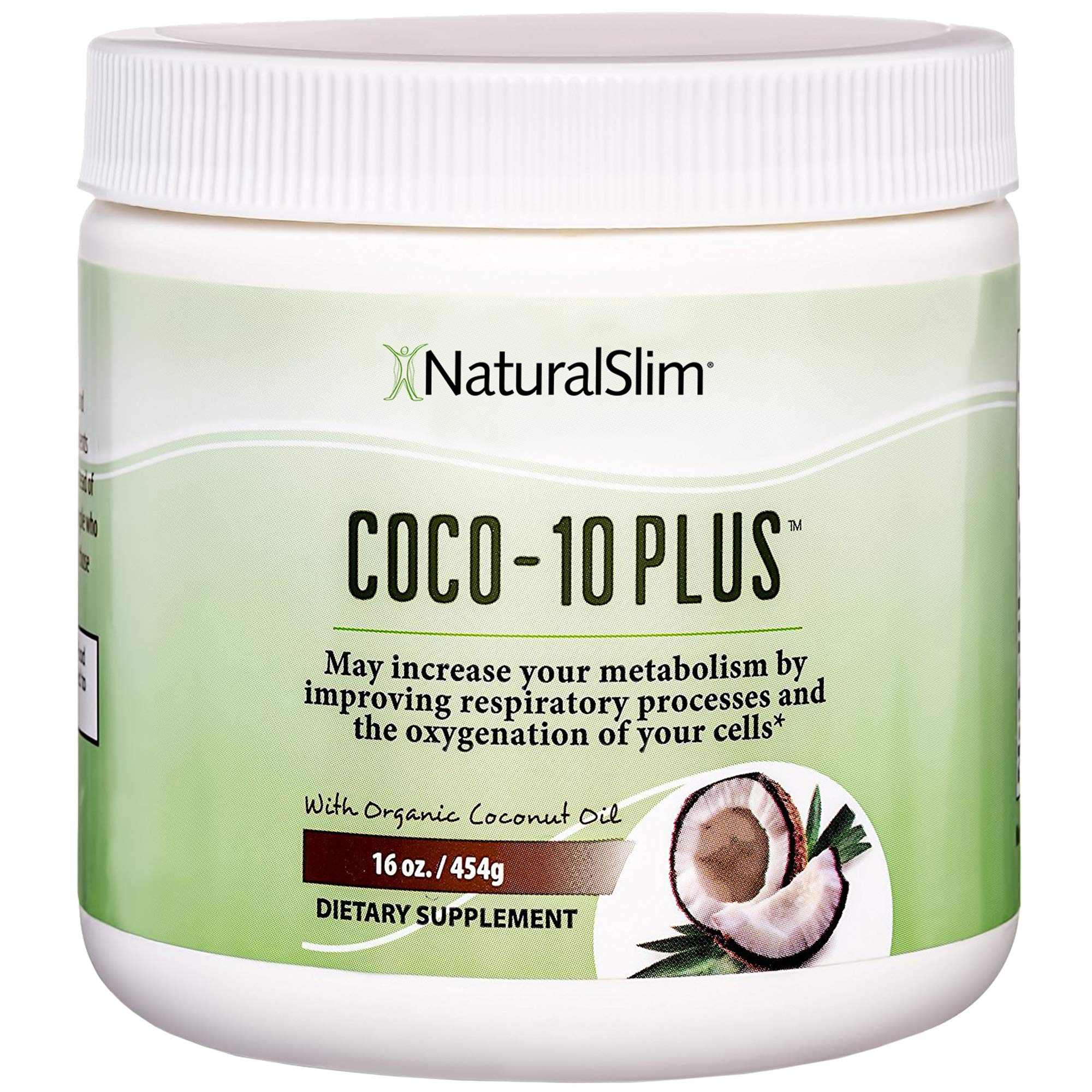 NaturalSlim''Super'' Organic Coconut Oil with CoQ10, Formulated by Obesity and Metabolism Specialist to Improve Energy Levels and Assist with Weight Loss - Natural Fat Burner to Any Diet Attempt 16 Oz