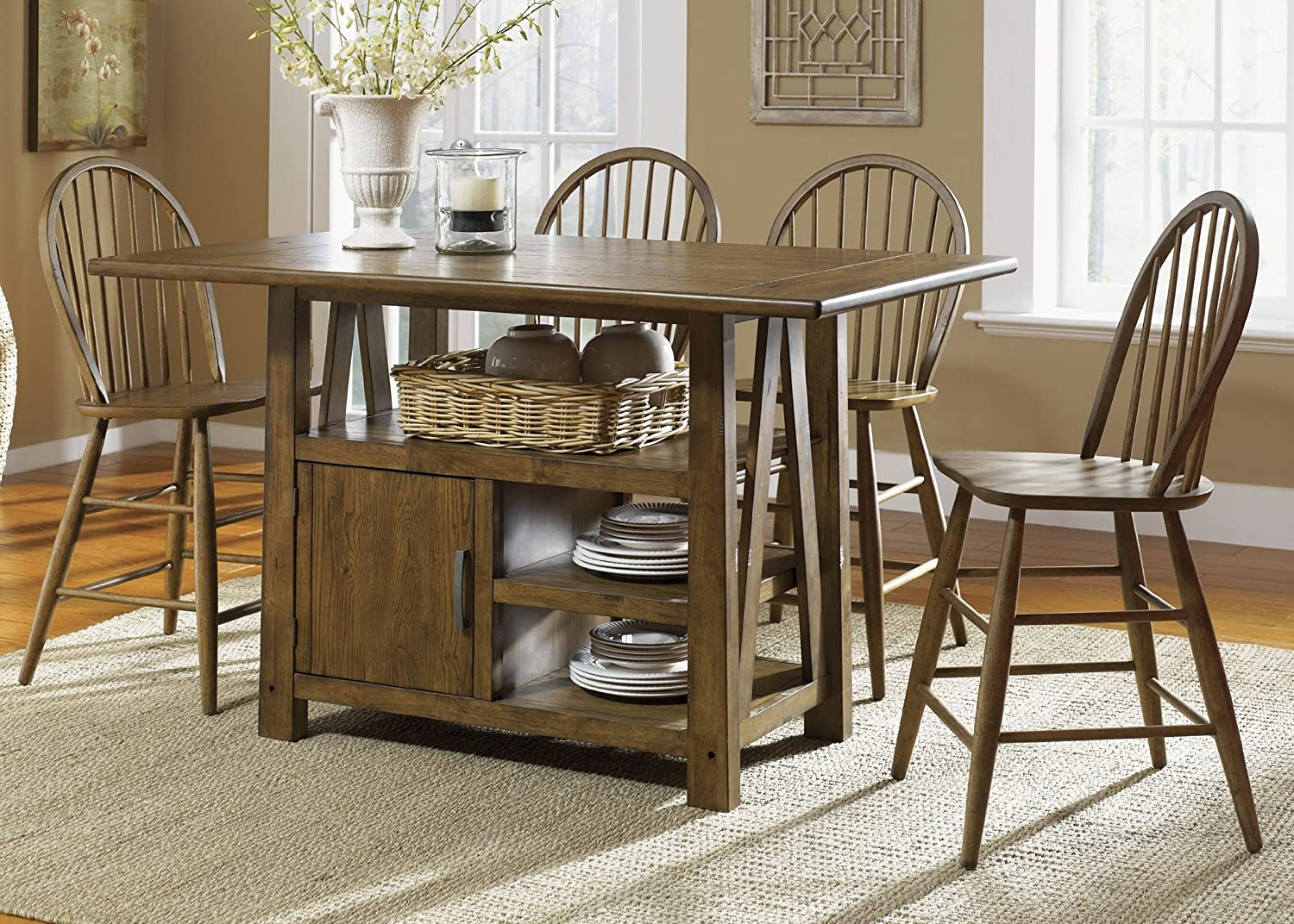 amazon com farmhouse casual dining centre island pub table in