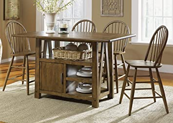 Amazon.com - Farmhouse Casual Dining Centre Island Pub Table in ...