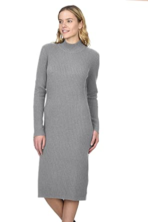 0fe4b344aeb State Cashmere Women s 100% Pure Cashmere Turtleneck Long Sleeve Sweater  Dress Heather Grey