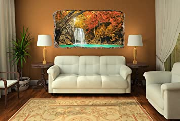 Startonight 3D Mural Wall Art Photo Decor Waterfall In The Forest Amazing  Dual View Surprise Large Part 45
