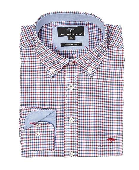 FYNCH-HATTON Herren Freizeit Hemd Shirt Knitwear Combi Check Button Down  Kragen kariert (S fe36967a1e