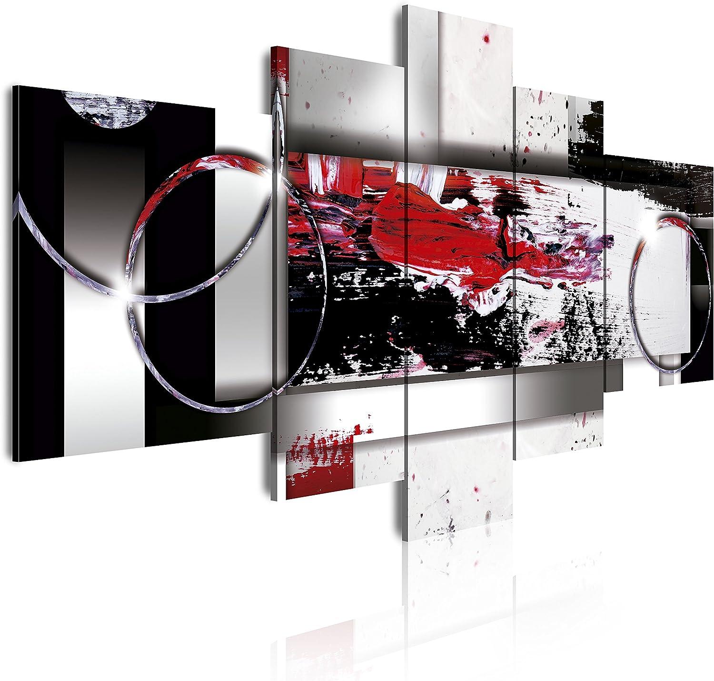 Dekoarte 242 Tableau moderne sur toile mont/é sur cadre en bois 5 pi/èces style abstrait dans des tons violets 180x85cm