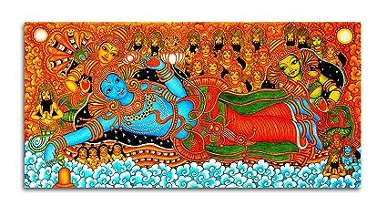 Tamatina Kerala Mural Canvas Vishnu Avatar Wall Paintings 5x2 5ft Multicolour