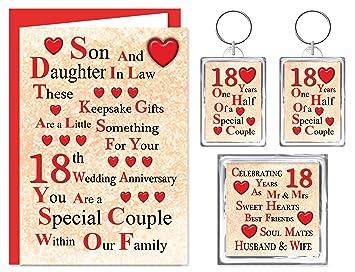 Son Daughter In Law 18 Hochzeitstag Geschenk Set Karte
