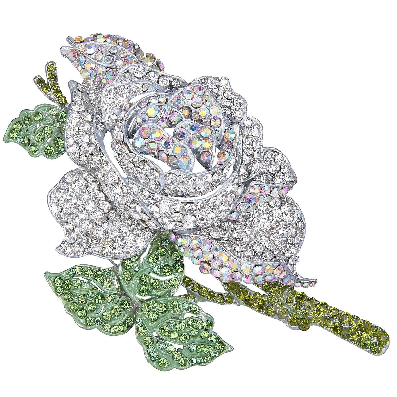 TENYE Women's Austrian Crystal Wedding Blooming Rose Flower Brooch AzGfixe